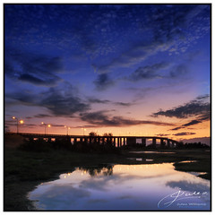 Lights On (juliewilliams11) Tags: river water reflection bridge lights sky evening sunset dusk stockton hunter newsouthwales summer australia blue clouds gnd filter cokin