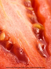 Tomato (Bitter-Sweet-) Tags: vegan food healthy wholesome whole fruit vegetable macro closeup details ingredients fresh sliced tomato red seeds