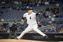 Yankees starter Masahiro Tanaka delivers a pitch against the White Sox. (apardavila) Tags: mlb majorleaguebaseball masahirotanaka newyorkyankees yankeestadium ballpark baseball pitcher sports stadium