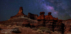 Canyonlands National Park. Red Rocks and Milky Way (Bill Wight CA) Tags: copyright2017 billwight northamerica america unitedstates usa americanwest utah archesnationalpark canyonlandsnationalpark arches canyonlands nationalpark southwest serene travel destination hiking recreation family landscape nobody outdoor outdoors outside silence tourism colors skies sky color sandstone cliffs hills mountains geology availableforlicensing nopeople redrocks night milkyway lightpainting stars