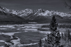 Chulitna River (tpeters2600) Tags: tamronaf18270mmf3563diiivcldasphericalif canon eos7d hdr photomatix monochrome blackandwhite alaska chulitnariver landscape scenery outdoors river mountains