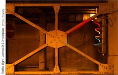 Traffic Light, James St S Underpass (jwvraets) Tags: compstomping trafficlight jamesstreetsouth underpass hamilton downtown night composit red yellow green girders bandodekvar opensource rawtherapee gimp nikon d7100 nikkor50mmf18d