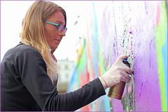 Strangers at work - Laura (Finding Chris) Tags: madeiradrive brighton spraypaint chrisbarbaraarps canon60d vibrant strangers mauve