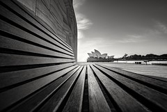Angle wide view (Martin Snicer Photography) Tags: blackandwhite bw monochrome wideangle 1018mm canon 70d sydneyoperahouse sydney australia perspective