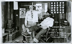 Ghost Town Barber Shop, Knott's Berry Farm, California (SwellMap) Tags: postcard vintage retro pc chrome 50s 60s sixties fifties roadside midcentury populuxe atomicage nostalgia americana advertising coldwar suburbia consumer babyboomer kitsch spaceage design style googie architecture waxmuseum effigy figurine
