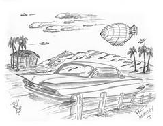 Port Moresby (rod1691) Tags: bw scifi sketch alien greys concept custom car retro space hotrod drawing pencil h2 hb original ink story fantasy funny automotive art illistration greyscale moonpies