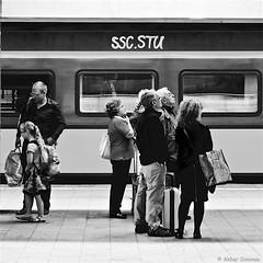 The Train to SSC.STU (Akbar Simonse) Tags: holland netherlands nederland graffiti sscstu station trein train people candid streetphotography streetshot straatfotografie straatfoto urban zwartwit bw blancoynegro bn monochrome vierkant square akbarsimonse bagage luggage