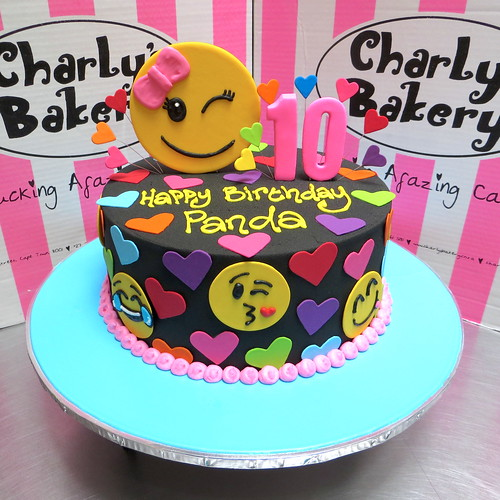Emoji Themed Single Tier 10th Birthday Cake With Hearts And Designs
