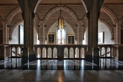 Arched hallways of the Canadian Parliament (beyondhue) Tags: canadian parliament interior hall stained glass window arch limestone beyondhue ottawa ontario canada inside commons senate