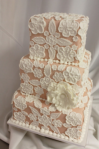 Lace Cutouts Wedding Cake 3-tiered version