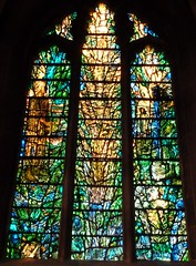 """Prayer"".  Designed and made by Tome Denny (2002) (Glass Angel) Tags: prayer stainedglasswindow tewkesburyabbey tomdenny2002"