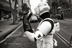 Around San Diego: Comic-Con #2 (Stormtrooper) (rmc sutton) Tags: street blackandwhite bw car starwars sandiego documentary event knight comiccon jediknight trafficcop streetimage majorevent comiccon2013 trafficdirrector