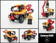 Unimog U400 8110 style (1) ([Maks]) Tags: car truck mercedes benz mod lego crane technic german minifig remake unimog 8110 moc reload u400