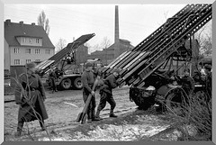 Soviet soldiers loading multiple-barreled Katyusha rockets in preparation for the final assault on Berlin.