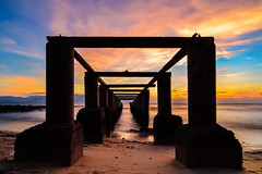 Strong (zollatiff) Tags: ocean travel light sunset sea sky seascape beach nature water colors silhouette clouds sunrise landscape evening pier twilight nikon scenery dusk jetty horizon structures peaceful calm harmony serene penang tranquil goldenhour foreground waterscape zollatiff