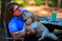 Oscar Gives His Mommy a Kiss (Samantha Decker) Tags: camping portrait dog ny newyork oscar kiss upstate canonef135mmf2lusm dny moreaulakestatepark canoneos6d samanthadecker sdpeople adobephotoshopcs6