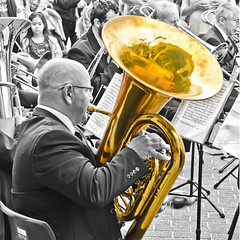 Brass Band (Mariasme) Tags: musician music reflection musicalinstrument bondibeach brassband proverb selectivecolouring festivalofthewinds friendlychallenges herowinner dontblowyourownhorn