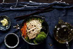 Tea Soup with Tea Roasted Tofu (princess tofu) Tags: seaweed ginger tea tofu broccoli carrots edamame