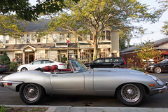 Jaguar E-Type #2 (Dave Green Photo) Tags: trip usa holiday fall classic sports car america silver mainstreet capecod sony september jaguar falmouth etype 2013 rx100