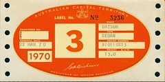 1970 ACT Car Registration Label (ArchivesACT) Tags: car automobile canberra registration archivesact