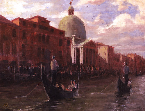 Gondoliers-in-Venice,-Italy