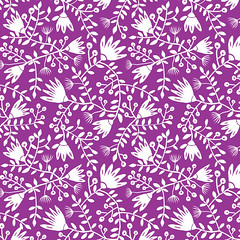 JANUARY PAINTED FLOWERS IN ORCHID & WHITE (The Merry & Mirth) Tags: flowers flower color texture leaves modern design vines colorful pattern berries patterns surface surfacedesign wildflowers textiles florals repeat coloroftheyear textilepatterns radiantorchid textilespatternsurfacedesign