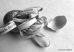 Story about leaving the shell (Ines Seidel) Tags: altered paper book text egg shell literature story alteredbook storytelling bookpage