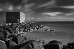 South Wall, Dublin (Dave Road Records) Tags: blackandwhite lighthouse monochrome pigeonhouse chimneys poolbeg sandymount southwall ringsend irishlighthouse dublinchimneys