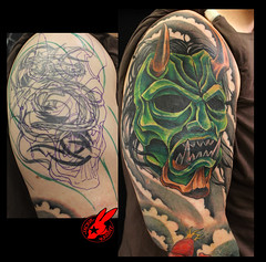 Oni Demon Mask Cover Up Tattoo by Jackie Rabbit (Jackie rabbit Tattoos) Tags: california ca dog flower color sexy rabbit bird beautiful up tattoo vintage nude asian japanese skull star 3d jackie colorful artist heart mask good infinity feather tribal best cover anchor demon chico oriental tat sleeve oni coverup realistic eyeofjade