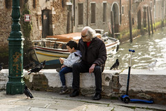 Venetian Grandad (Luke-Collins) Tags: street venice light sunset italy painting canal long exposure gondola venezia