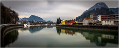 River Inn .. Kufstein (:: Blende 22 ::) Tags: river inn fluss inntal valley reflections refexionen tiltshift maountains berge wasser farbe farbig austria tyrol kufstein city fortress kufsteinfortress roof bluesky blue sky canon canoneosd canoneos5dmarkii ef2470mmf28lusm