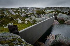 Wall (Serious Andrew Wright) Tags: norway rogaland sinnes lysebotn water dam concrete brutalism barrier moss lichen wet cloudy cloud grey outside rock snow