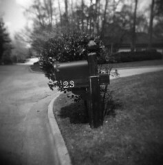 Mail box (surgeon24hrs) Tags: holga holga120n toycamera toy plasticcamera vignette lofi analog film filmisnotdead filmphotography 120film squareformat square ilovefilms blackandwhite bw mailbox blur