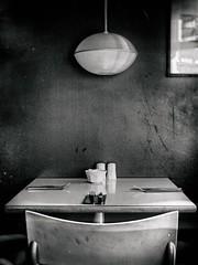 Los ausentes (una cierta mirada) Tags: food table restaurant dublin ireland bnw blackandwhite chair