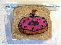 Tiny Bird or Large Donut (D Laferriere) Tags: attleboro laferriere donut doughnut bird dad drawing kritzels sandwich bag art sharpie