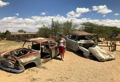 Old wrecks adorn the stop-off called Solitaire. (One more shot Rog) Tags: solitaire wrecks cars trucks rusty rust namiba desert namibiandesert namib moose mcgregor moosemcgregor bahery solitairebakery safari traveller oasis pitstop namibdesert namibia onemoreshotrog
