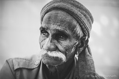 People on the road - 365 Portrait Project - Day 103 (Tarang Jagannath) Tags: tear realpeople 365portrait face blackandwhite old people india eyes portrait real man upset alone