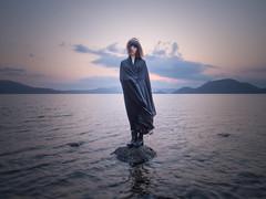 wind (shingo7099) Tags: girl woman lady water lake toya sky cloud mountain wind hair spring landscape sunset sun hokkaido japan 645z pentax rock stone shore