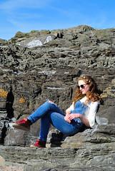 Teenage Idleness! (Late Breaks Devon) Tags: teenage teenager teen girl idle beach rocks rockpools sitting resting croyde sunshine sun spring retro north devon late breaks