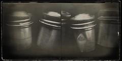 Film tins-9846 (Poetic Medium) Tags: moldiv stilllife blackandwhite kitcamghostbird snapseed vintagescene possession 35mm vintage ipod diptych
