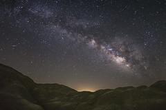 Lyrid Meteor and Milky Way Over a Mars-like Landscape (slworking2) Tags: borregosprings california unitedstates us lyrids meteor milkyway anzaborrego anzaborregodesertstatepark sky night nighttime