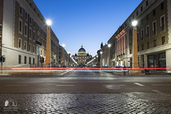 No entry! (antonelloimineophotography) Tags: architecture urban bluehour lighttrail piazzasanpietro rome