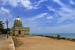 St. George Church Puthenthurai, Kanyakumari Tamilnadu India (Anoop Negi) Tags: india tamilnadu kanyakumari beach sea sky blue white clouds st george church sand road convergence lines anoop negi photo photography ezee123 travel