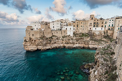 Sunset view on Polignano a Mare (Tim&Elisa) Tags: puglia polignanoamare mediterraneansea turquoise sunset canon water sea landscape italy clouds blue