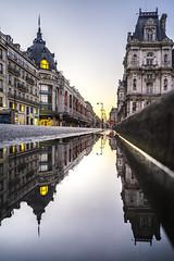 Paris : sunrise on BHV (pierrepphotography) Tags: paris france reflections puddle sunrise bhv hôteldeville