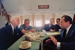 Vietnam War 1969 - Richard Nixon Speaking with Leaders on Air Force One (manhhai) Tags: adults air force one aircraft airplane ambassador american armed forces americans boeing 707 cabinet officer creighton williams abrams diplomat ellsworth bunker general gesturing government official graham martin group head state henry kissinger interior jet plane leader listening males many meeting men middleaged military personnel people political portraits president prominent persons richard milhous nixon secretary telephone united states america vehicle whites