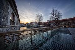 On the butchers' bridge (marko.erman) Tags: ljubljana ljubljanica slovenia slovenija mesarski most butchersbridge river sunset sun architecture perspective foodmarket mestnitrg sony