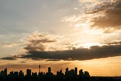Sunset across city