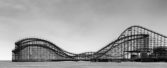 Great White (Dalliance with Light (Andy Farmer)) Tags: woodenrollercoaster beach wildwood greatwhite rollercoaster sky bw nj shore newjersey unitedstates us