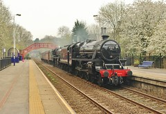 LMS 'Black Fives' Nos 45212 & 45407 at Riding Mill, Tyne Valley. 9th April 2017 (allan5819 (Allan McKever)) Tags: train rail railway blackfive 5mt 460 lms 45212 45407 doubleheader steam mainline tyne valleyriding mill northumberland uk england station travel transport heritage 5z45